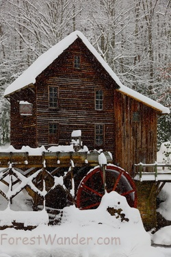 Glade Creek Grist Mill Christmas Card Winter Snow Falling