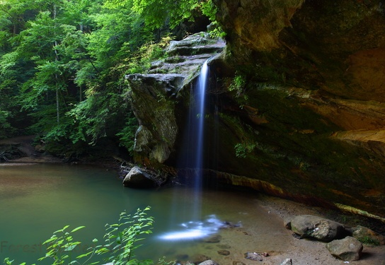 Lower Waterfalls side view Old Mans Cave Ohio