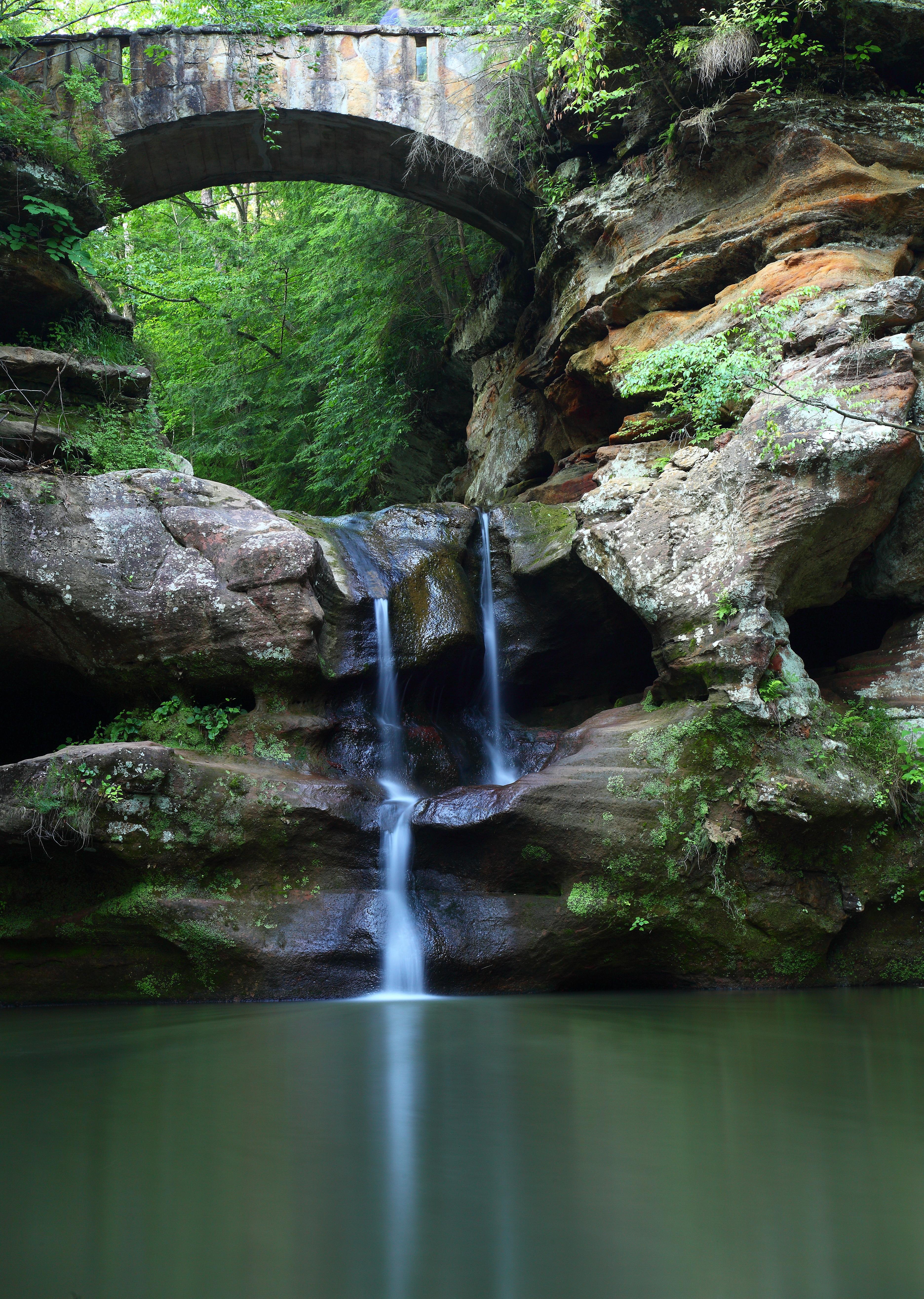 upper waterfalls old mans cave bridge vertical | waterfalls| free